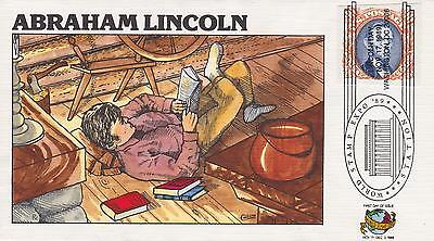 1989 FRED COLLINS HAND-PAINTED FDC ABRAHAM LINCOLN -WORLD STAMP EXPO CANCEL 3