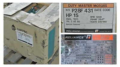New Reliance Electric 15 Hp Ac Motor P28f431 Frame 284t Tefc 1200 Rpm 460230