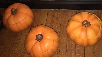 3 Teleflora Ceramic Orange Pumpkin Shaped Cookie Jar or Candy Dish w/ Lid