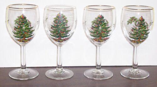"4 SPODE CHRISTMAS TREE PEDESTAL WINE GLASSES 7""   FREE US SHIPPING"