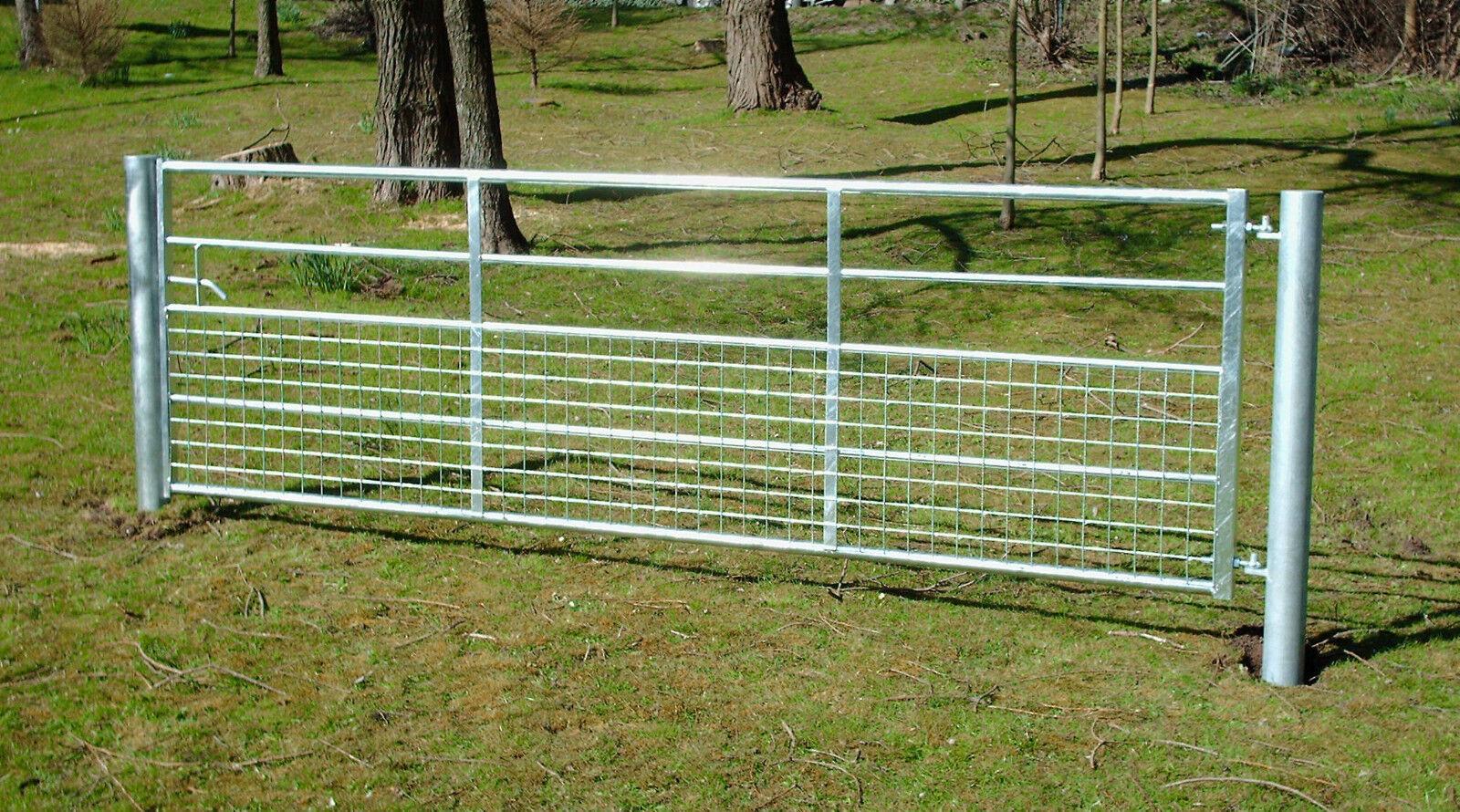 Half Mesh Galvanised Field Farm Entrance Security Gate Dog