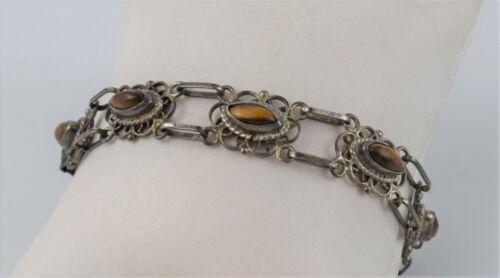 Vintage Mexico Sterling 925 Silver Tiger Eye Gemstone Bracelet