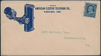 "1895 1¢ BUREAU ON BLUE ILLUST ADVT COVER AMERICAN ""ELECTRIC TELEPHONE"" Co BS1530"