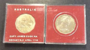 1970 captain James Cook RAM 50 cent unc in case red background.