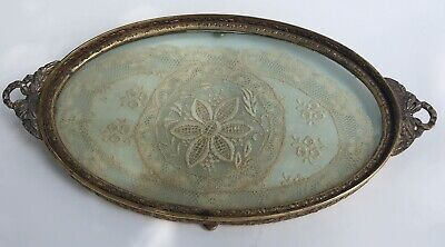 Vintage Apollo Victorian Brass Ornate Tray Hand Sewn Lace Inlay