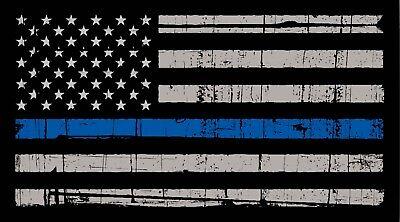 Thin Blue Line American Flag Distressed Vinyl Decal Car Window - Flag Stickers
