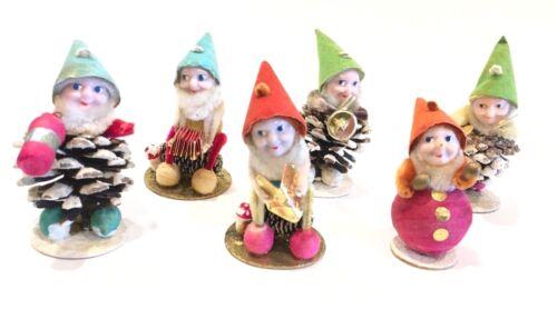"Lot of 6 Vintage Christmas Putz Pine Cone Caroling Elves Gnome Japan 3"""