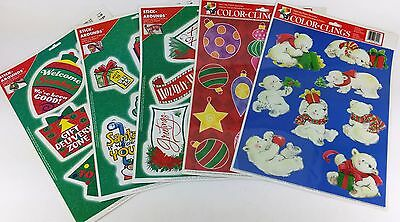 "5 PACK LOT ASSORTED CHRISTMAS CLINGS & WALL STICKERS 12"" X 16"" SHEETS"