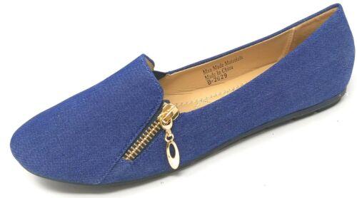 women ballerina ballet flats shoes denim slip
