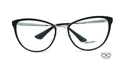 Prada PR55T 1AB-1O1 Black with Silver Eyeglasses New Authentic (Prada Pr 55t)