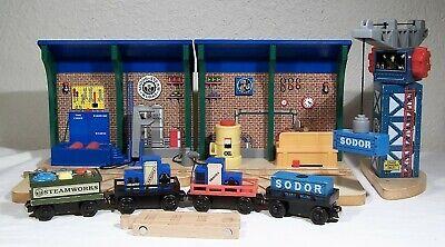 Thomas & Friends Sodar Steamworks Repair and Go Station Wooden Train Cars Crane