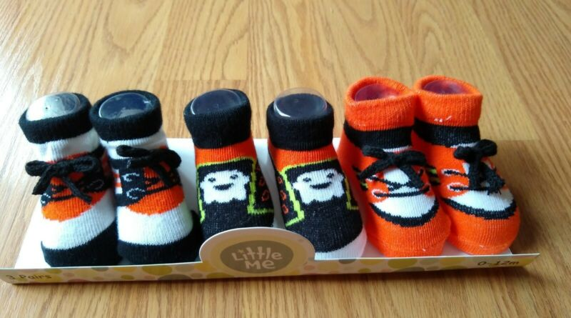 3 Little Me Booties 0-12 Months Halloween Ghost Socks Boys Girl Baby Infant NEW