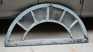 Antique Window Sash Half Round Dome Arch Top Shabby Cottage Chic 59x27 c. 1895