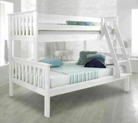 🔵💖SALE ON🔵💖Kids Bed Trio Wooden Bunk Bed In Multi Colors Optional mattress