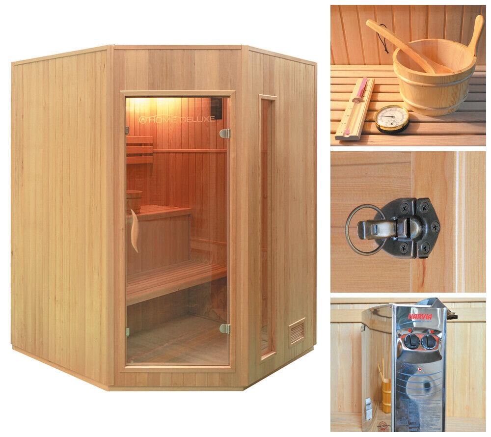 HOME DELUXE Sauna Saunakabine Elementsauna Heimsauna Massivholzsauna Harviaofen