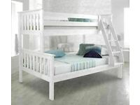 🔵💖🔴MASSIVE SAVING🔵💖🔴Kids Bed Trio Wooden Bunk Bed In Multi Colors Optional mattress