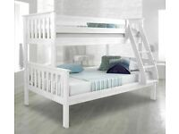 🔵💖🔴MASSIVE SAVING🔵💖🔴Kids Bed New Trio Wooden Bunk Bed In Multi Colors With Optional Mattress