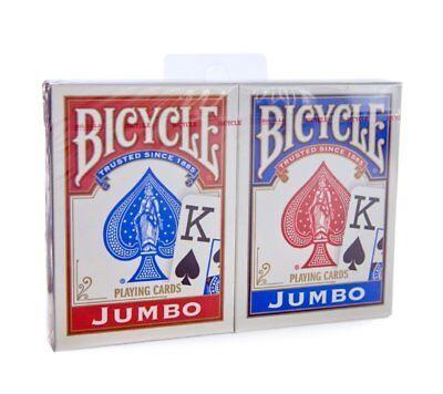 2 Decks Bicycle Rider Back 808 Poker Jumbo Index Playing Cards Red & Blue New  Index Playing Cards 2 Decks