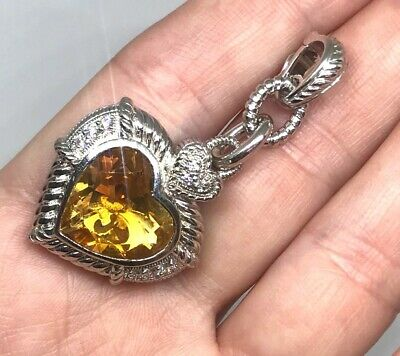 Judith Ripka Citrine & CZ Heart Pendant in Sterling Silver
