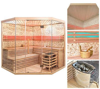 HOME DELUXE Sauna Saunakabine Ecksauna Massivholz Traditionell Harvia