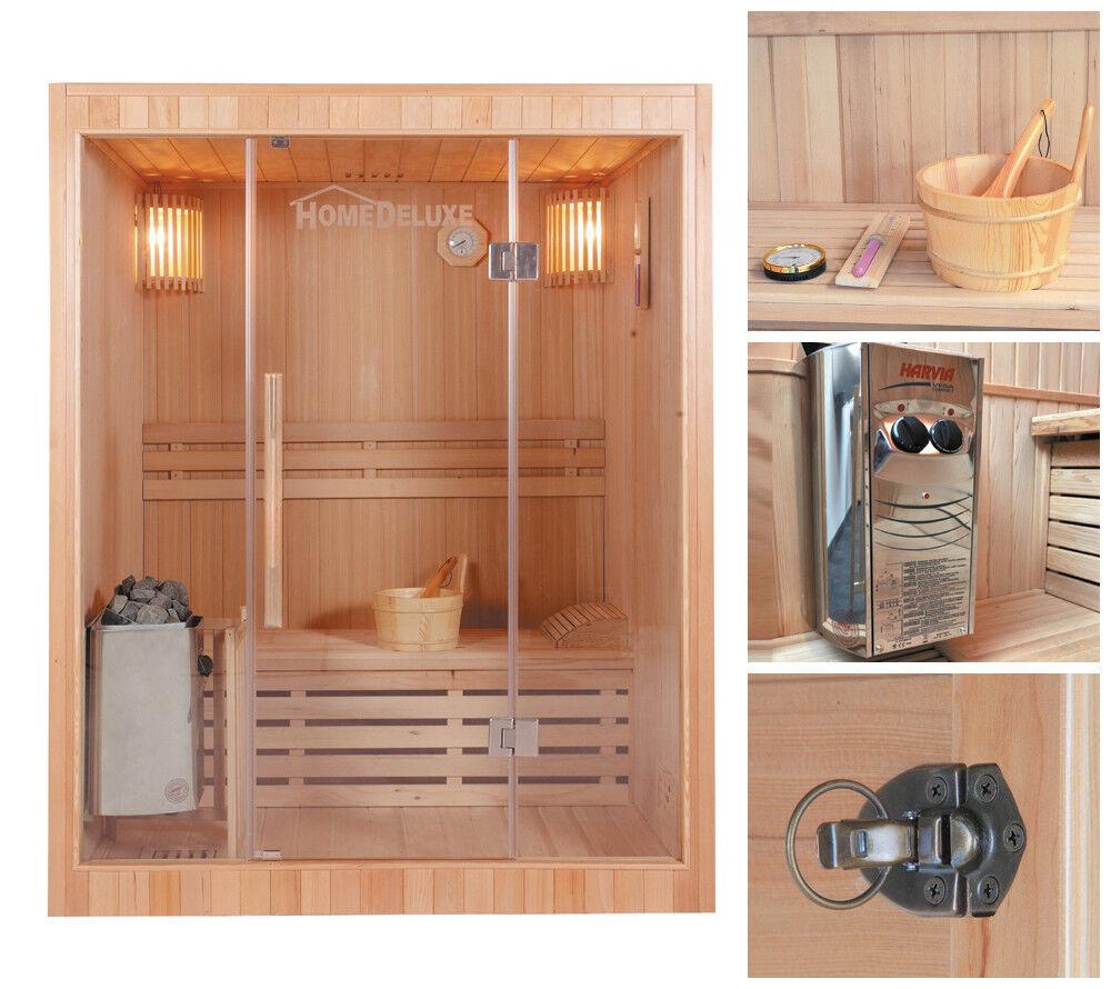 HOME DELUXE Sauna Saunakabine Massivholz Traditionell Harvia Saunaofen Zubehör
