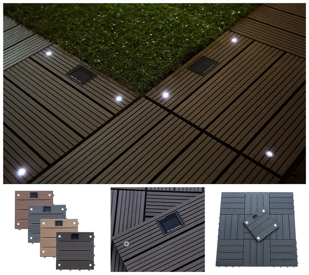 HOME DELUXE WPC Terrassenfliesen Holzfliesen LED Fliese Balkon Garten Terrasse