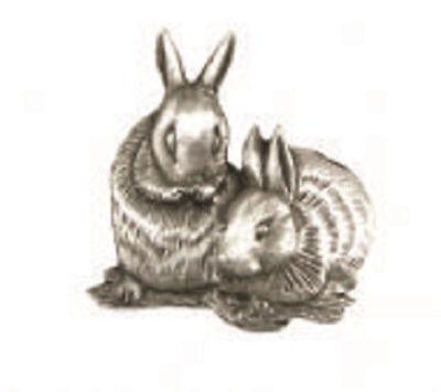 A.E. Williams Fine Brittish Pewter Lapel Hat Pin Bunny Rabbits #35121