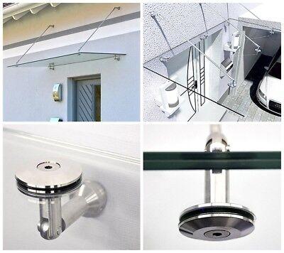 Glas Vordach Wand (HOME DELUXE Glasvordach Edelstahl Halterung Halter Wandhalter Glashalter Zubehör)