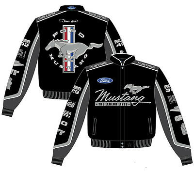 - Ford Mustang Jacket Mens Black Cotton Twill Collage Best Racing Car Logos Jacket