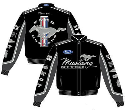- Ford Mustang Collage Mens Black Cotton Twill Jacket by JH Design