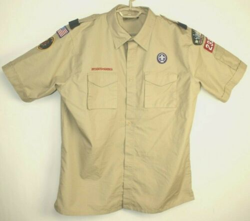 Boy Scouts of America Adult Large Uniform Shirt Short Sleeve Khaki with Patches