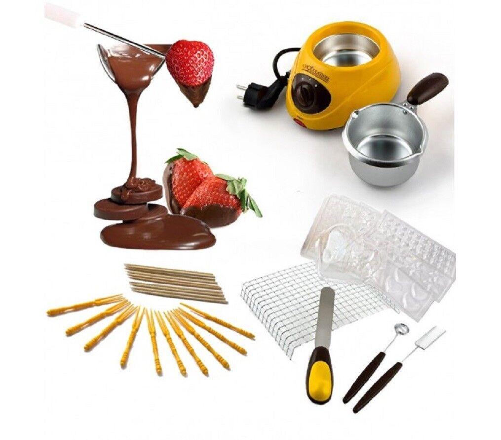 Cioccolatiera Elettrica Fonduta con Accessori per Cioccolato o Formaggio