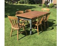 Solid Pine Farmhouse 5ft x 3ft Dining Table & six Chairs (inc 2 x Carvers)