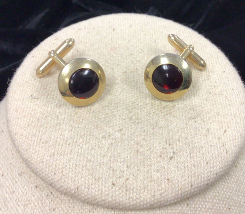 Vintage Mens Swank Gold Tone Costume Red Glass Stone Cuff Links FF244