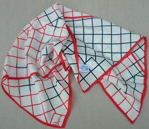 Vera-Neck-Head-Scarf-Crazy-Squares-Red-Navy-on-White-Seam-Tag-21-Vintage-Japan