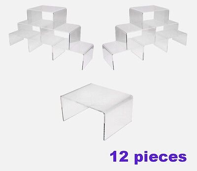 Lot Of 12 High Grade Clear Acrylic Jewelry Display Riser Plinth Stand Set 4 W