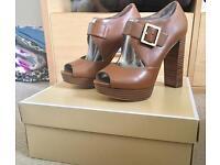 Michael Kors Eleni leather platform sandal (luggage) UK 4
