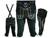 Men's Black Genuine Leather Trachten Bavarian Oktoberfest Lederhosen Shorts