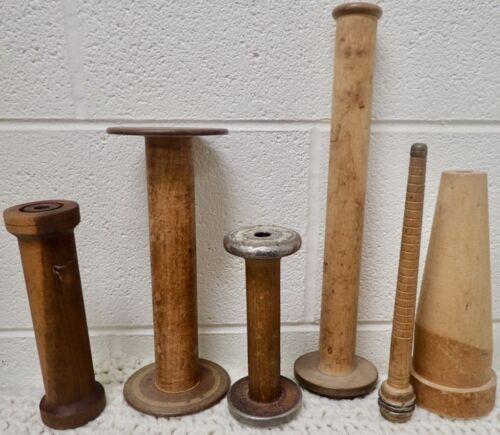 Antique Lot Of 6 Primitive Wood Textile Bobbins Spools Spindles Yarn Asst. Sizes