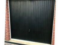 Black new garage door