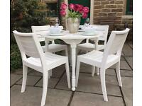 Shabby Chic Round White Dining Table & 4 Chairs