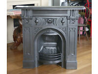 Rare bowl of fruit style Victorian cast iron fireplace in excellent condition, dated 1880's