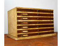 1950s ply seven draw cabinet speicmen collectors drawer industrial antique vintage haberdashery
