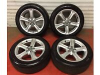 17'' GENUINE AUDI A4 B8 5 SPOKE ALLOY WHEELS AND TYRES 5X112