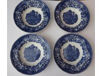 Enoch Wedgewood. Set of four vintage soup bowls. Blue and White china.