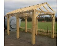 new 4.8m wooden car port hot tub shelter