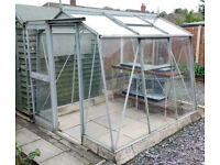 Aluminium frame greenhouse (concrete block base type) - dimensions 82 x 75 inches