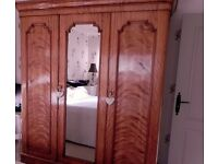 FAB! Triple original Victorian wardrobe armoire in stunning figured mahogany 187w, 56.5d, 206h cms