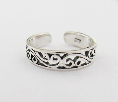 Sterling Silver filigree swirls narrow band toe ring
