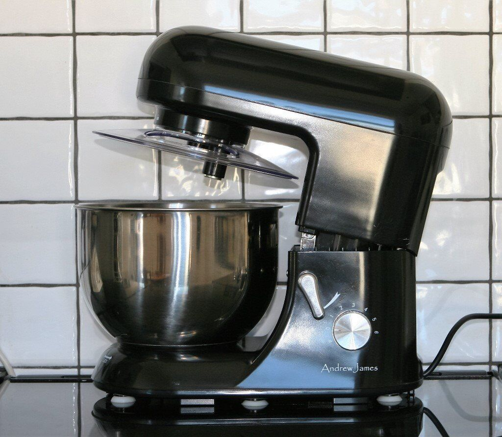 Boxed silver andrew james 5. 2 l food mixer with manual and recipe.